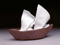 "Boat With Porcelain Sail ceramic  6"" x 4"" x 9"""